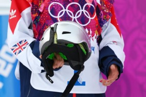 Czech snowboarder Sarka Pancochova cracked her helmet during the women's slope style competition on Feb 9th, 2014.