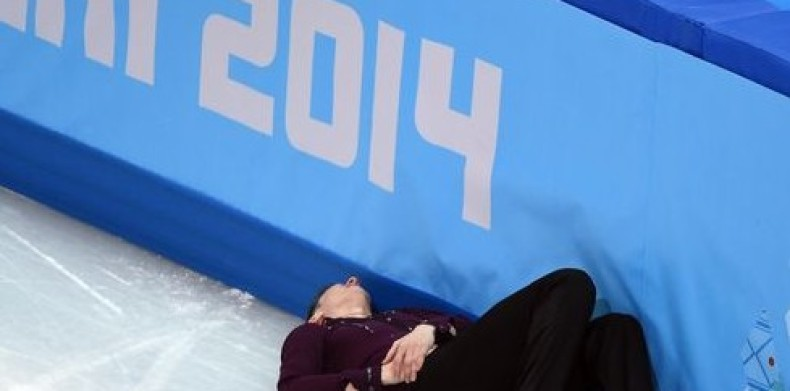 American Skater Abbott takes hard fall at Olympics