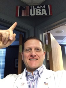 Dr. Bicos showing his Olympic Pride!
